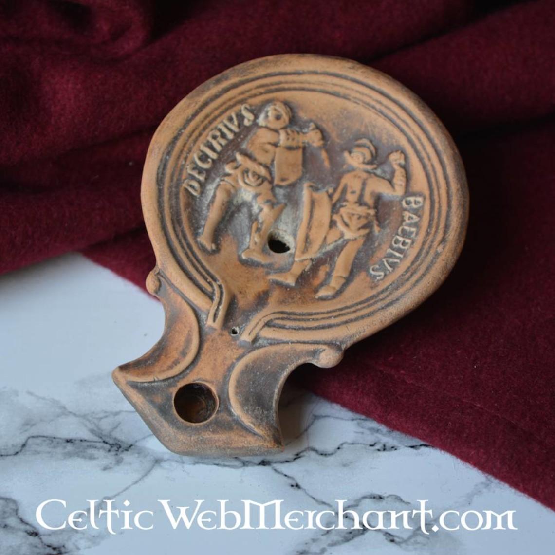 Lampada ad olio romana gladiatori Decirivs-Bibius