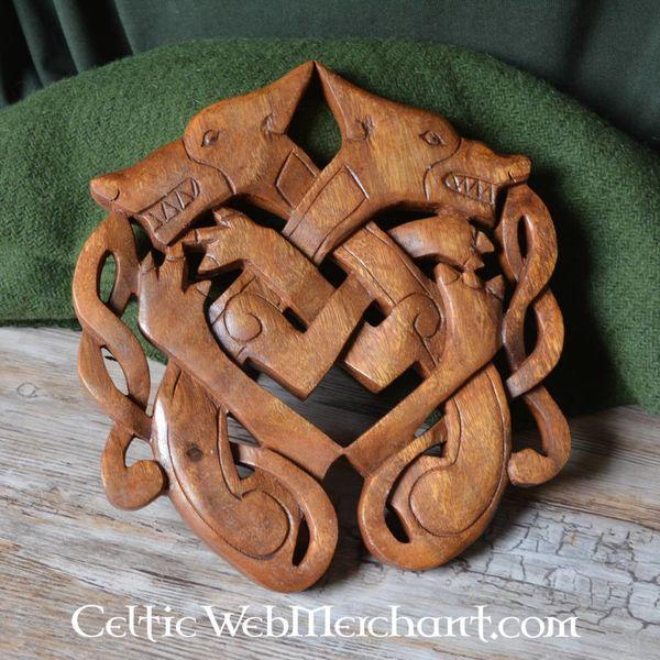Wooden Odin wolves