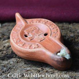 Lâmpada de petróleo romana com Chi-Rho cruz