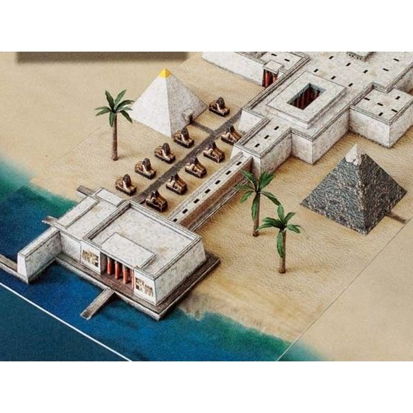 Bouwplaat pyramide met tempel
