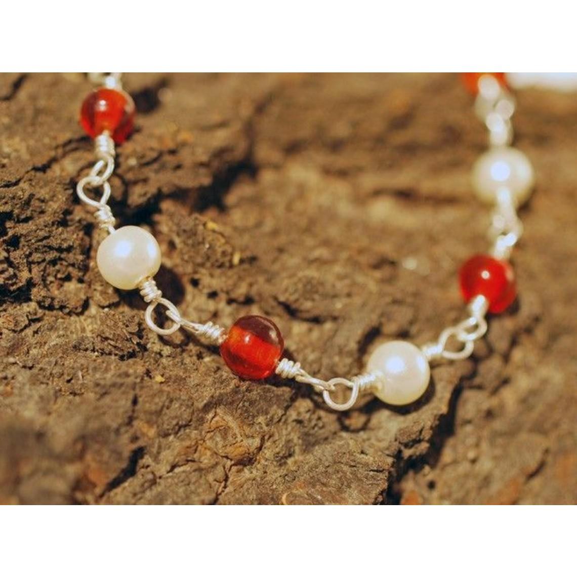 Romeinse halsketting met rode steentjes