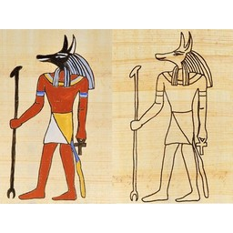 Papyrus coloring plate Egyptian god Anubis