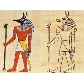 Papyrus färgning platta egyptiska guden Anubis