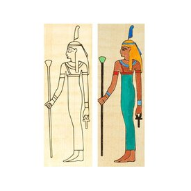 Papyrus farvelægning plade stående Isis
