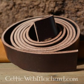 Læder bælte, stribe, 30 mm / 180-190 cm brun