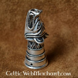 Decorazione da Corno per bere, testa di lupo d'argento