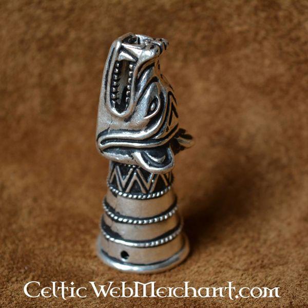 Róg robić picia dekoracja z głową wilka, srebro