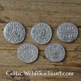 Alfred den store (871-891). Fem mynt set