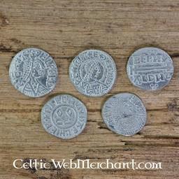 Alfred Wielki (871-891). zestaw pięciu monet