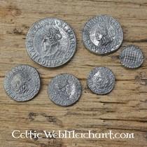Charles I, seven coin set