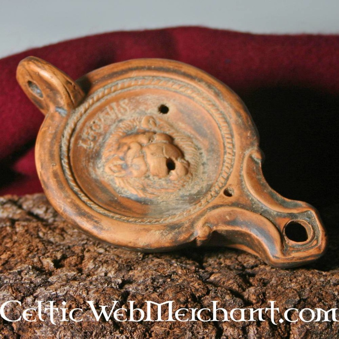 Lampada ad olio romana leone