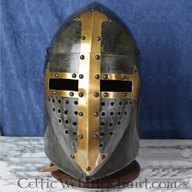Deepeeka Sugarloaf Helm med gångjärns visir, 1,6 mm stål, antiqued