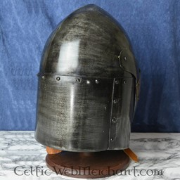 Sugarloaf Helm med gångjärns visir, 1,6 mm stål, antiqued