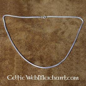 Prata colar trançado duplo, 55 cm