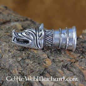 Beber decoração chifre com cabeça de lobo, prata