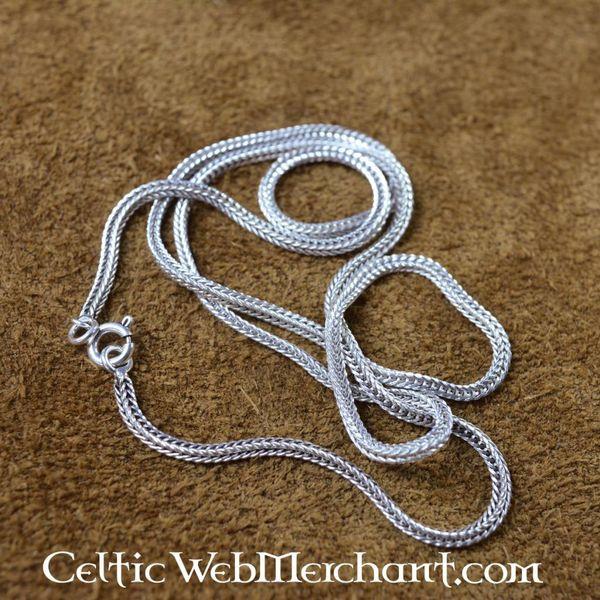 Sølv snoet halskæde, 50 cm