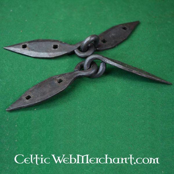 Ulfberth Handgesmeed Viking kistbeslaag, paar (18 cm)