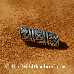 Silver beard bead with runic inscriptions