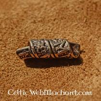 Bronze beard bead with runic inscriptions