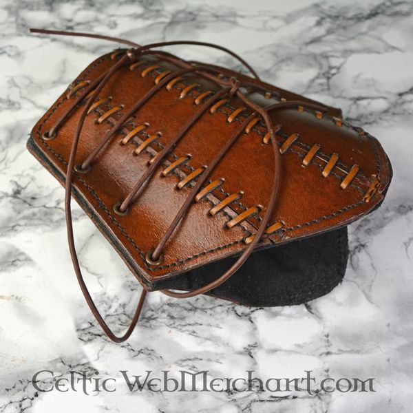 Epic Armoury Læder Bracers Battle, brun, pair