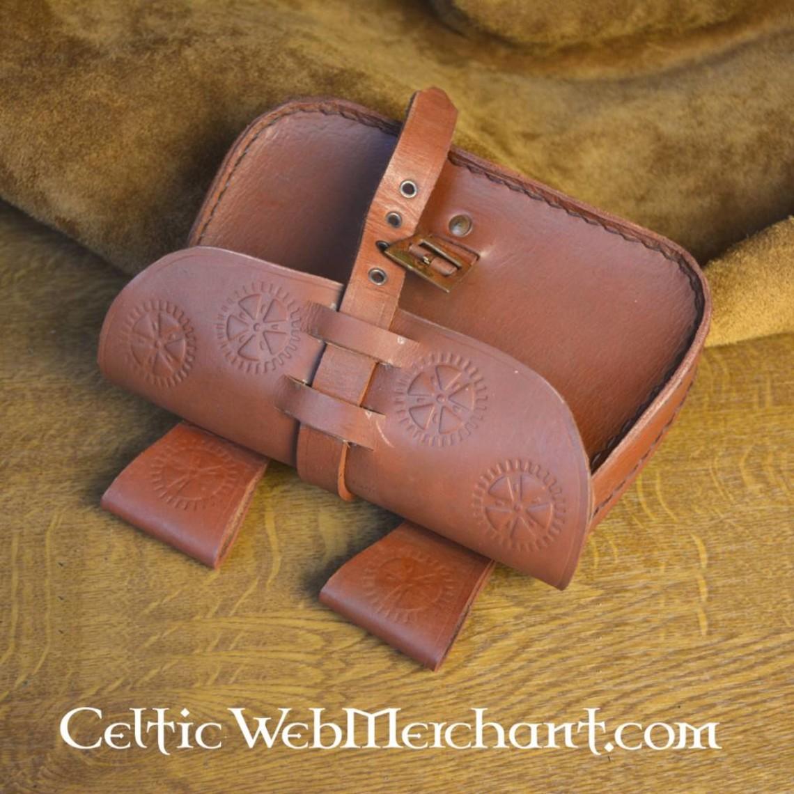 Leonardo Carbone cuero marrón rueda del bolso del sol