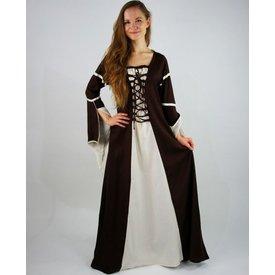 Vestido Eleanora marrón-blanco