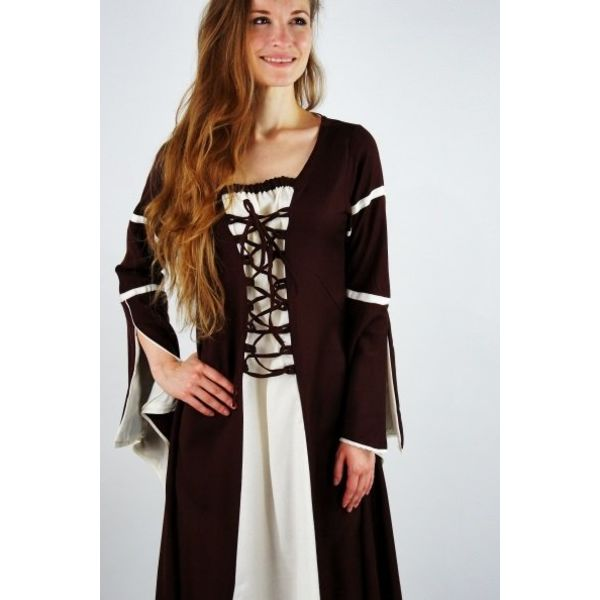 Dress Eleanora brun-hvid