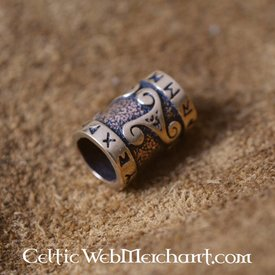 Bronze skæg perle med trisqelion & rune indskrift
