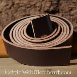Läder bältesrem brun 4 x 180-190 cm