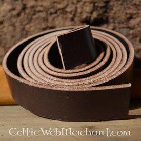 Læder bælte strip brun 4 x 180-190 cm