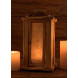 Ulfberth Linterna de madera con ventanas de pergamino