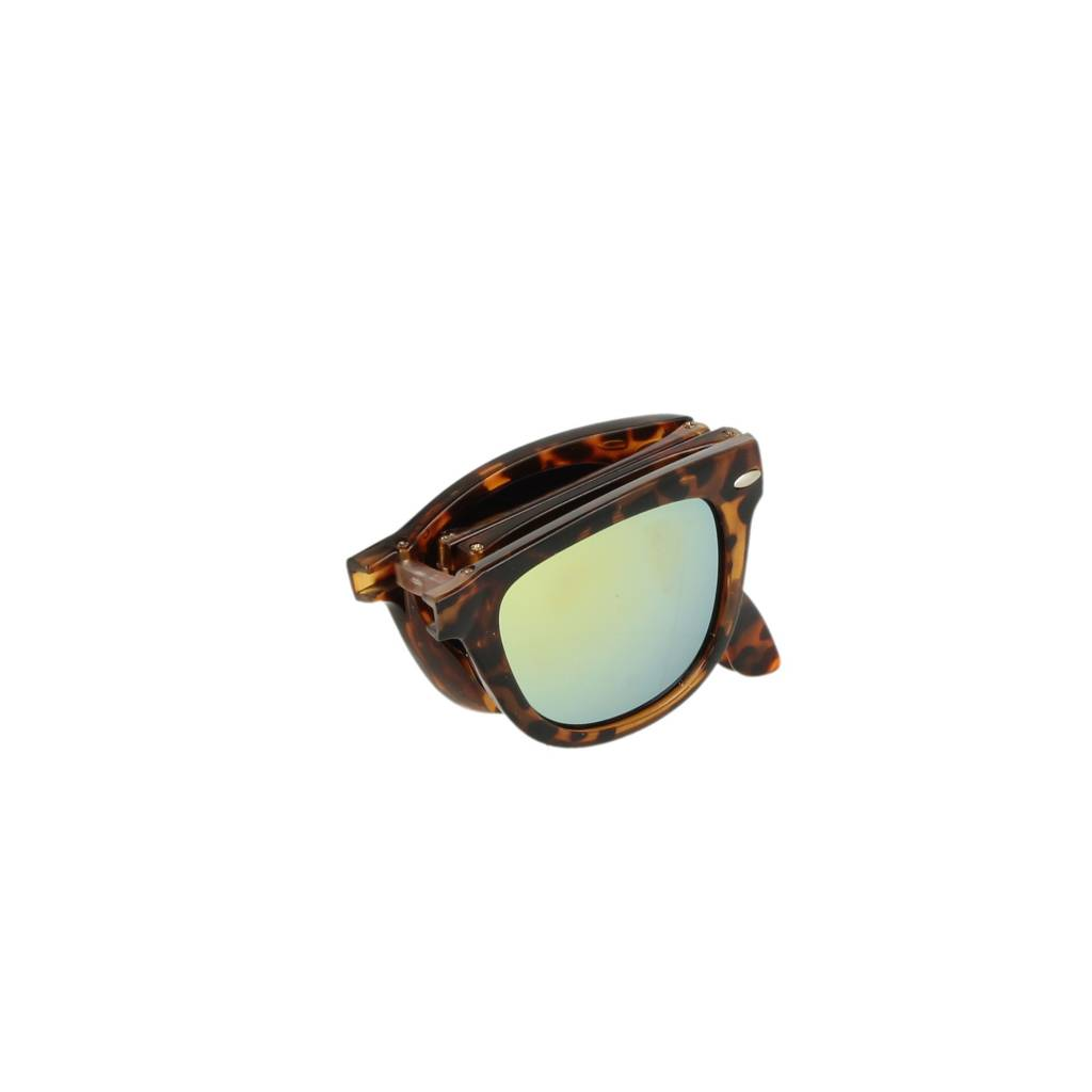 NGRY Foldable Brown Leopard Gold Mirror Lens