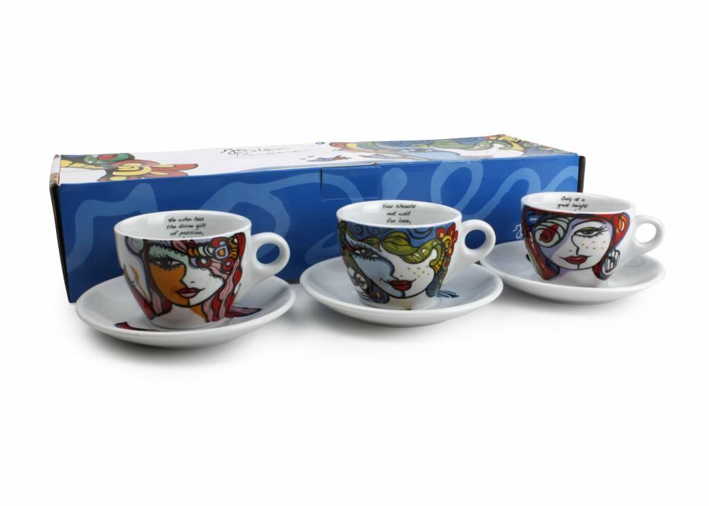 Josien Broeren Koffiekopjes 160 ml met schotels