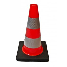 TRAFFIC CONE PU, 50 cm high with black base - Class 2