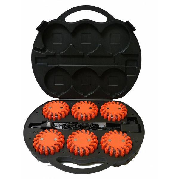Case with 6 rechargeable orange LED rotorlights - magnetic