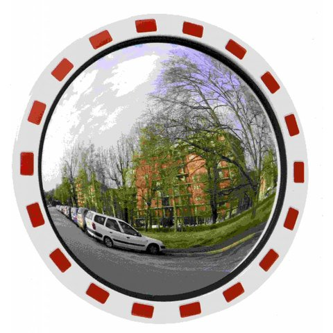 Mirror 'TRAFFIC DELUXE' 600 mm - red/white