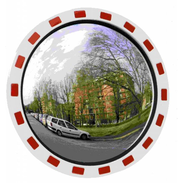 Miroir de circulation 'TRAFIC DELUXE' (Rond) 600 mm - rouge/blanc