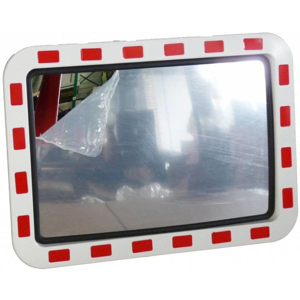 Miroir de circulation 'TRAFFIC DELUXE' 400 x 600 mm - rouge/blanc