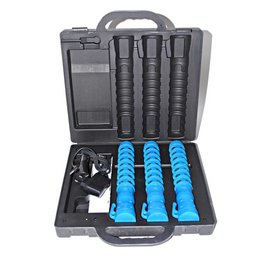 Case with 3 LED traffic batons - blue (incl. € 0.171 BEBAT)