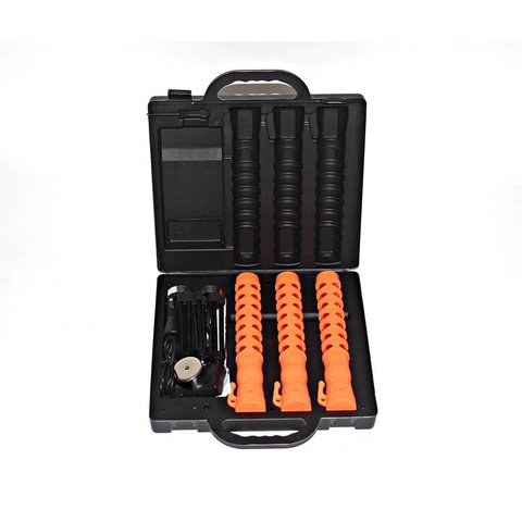 Case with 3 LED traffic batons - orange (incl. € 0.189 BEBAT)