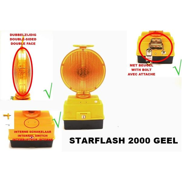 STAR Road warning lamp STARFLASH 2000 - double sided - yellow