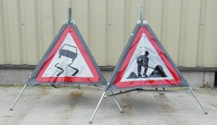 Roll up road signs