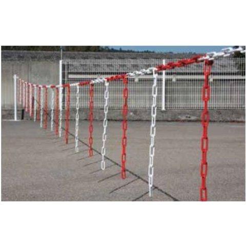 Barrière de chaîne 10 m x Ø 6 mm avec morceaux de chaîne Rouge/Blanc