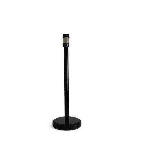 Black queue barrier post with black retractable belt