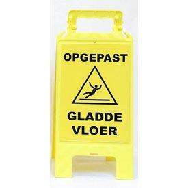 """A-board signs, information signs """"beware slippery floor"""" Dutch & French"""