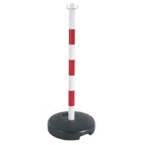 Kettingpaal in PVC, 90 cm, rood / wit met opvulbare ronde voet 9 kg.