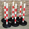 PVC post with fillable round base as ballast 9 kg, 90 cm, red / white