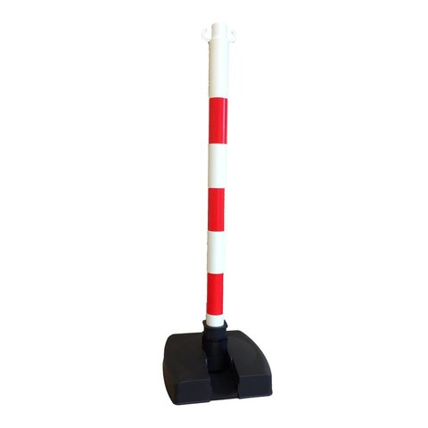 """Poteau PVC """"Bi-pose"""" 90 cm rouge / blanc 4 kg."""
