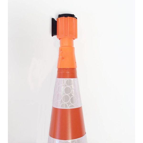 Haspel met uittrekbare rol afzetlint voor verkeerskegels, 3 m x 50 mm, Rood Wit.