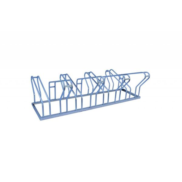 Double-sided bicycle rack suited for 8 or 10 bikes